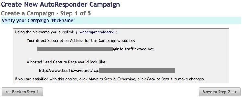 Trafficwave - Criação de campanhas - passo 1 - Confirmação