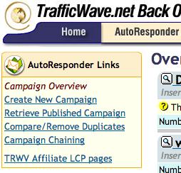 Trafficwave - Opções do menu Autoresponder